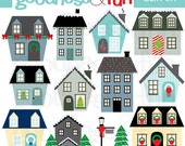 Buy 2, Get 1 FREE - Holiday Homes Clipart - Digital Winter & Christmas Clipart - Instant Download