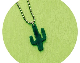 Cactus Necklace small size in Green Acrylic - Southwestern Boho Chic Style - Succulent Necklace