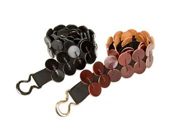 Elastic Leather Belt - Leather Belt - Black belt - Brown Belt - Women Belt - stretched belt - circles- BOGO SALE