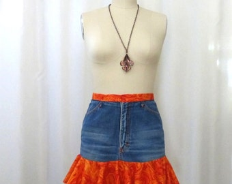 Denim Skirt Recycled Clothing Upcycled Jeans Flame Orange Ruffle Size Small