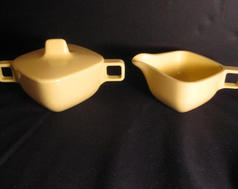Retro Brookpark Modern Design Yellow Sugar Bowl with Lid & Creamer, Square, designed by Joan Luntz,  1960s 1950s,TheRetroLife