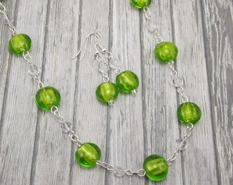 Necklace & Earring Set - Bright Lime Green - Silver Foil Lined