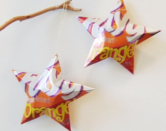 Faygo Orange Stars Christmas Ornaments Soda Can Upcycled Repurposed