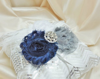Chevron Sequin Shabby Chic in Navy Blue and Gray Ring Bearer Pillow
