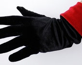 Black and Red Stretch Velvet Gloves