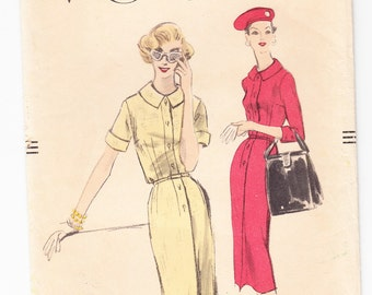Vintage 1956 Vogue 8878 Sewing Pattern Misses' One-Piece Dress Size 12 Bust 30