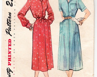 Vintage 1950 Simplicity 3280 Sewing Pattern Misses' One-Piece Dress Size 12 Bust 30