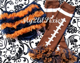 LEG WARMERS BLOOMER Denver Broncos /Chicago Bears- Navy and Orange Chiffon ruffle bum baby bloomer and football Legwarmers - Photo Prop-
