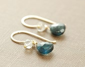 London Blue Topaz Earrings in 14k Gold Fill, December Birthstone, Wrapped Blue Gemstone Earrings Handmade, aubepine