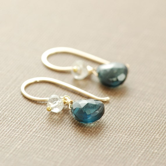 London Blue Topaz Earrings in 14k Gold Fill, December Birthstone, Wrapped Blue Gemstone Earrings Handmade, aubepine