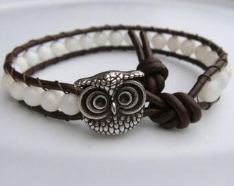 Owl Beaded Leather Bracelet