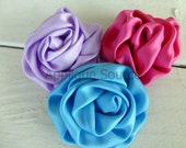 Satin French Twist Flowers - SAPPHIRE BLUE - Set of 2 Flower Appliques For DIY Headband & Bridal Accessories