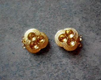 Vintage 2 Strand Clasps- Gold Plated- Mint Stock- Vintage 1960's- Set of 2