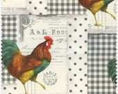 French Market Cotton Fabric  by Blue Hill Fabrics Roosters Country French 8249-15 Gray