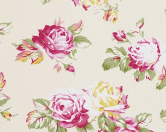 Ivory Sunshine Roses pwtw068Ivory  Cotton Fabric by Tanya Whelan FreeSpirit Sunshine Rose