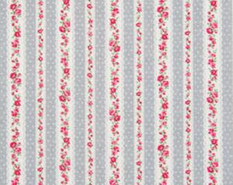 Romantic Memories  Cotton Fabric Cosmo Quilt Gate AP8787-12E Gray Rose Stripe