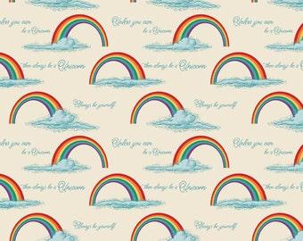 Unicorns and Rainbows Rainbows on Cream  Cotton Fabric Riley Blake C3712-Crm