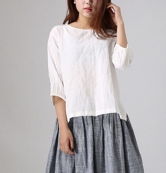 loose white linen shirt handmade blouse with pintuck sleeves