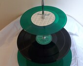 Green Vinyl 3 Tier Serving Tray made from Recycled Records