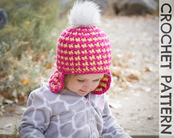 CROCHET HAT PATTERN - Kids Reversible Houndstooth Beanie
