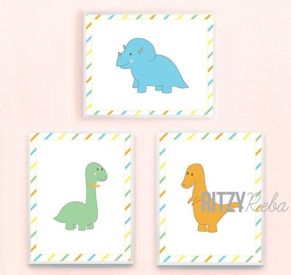 Dinosaur Art Print Set - Little Boy Nursery Playroom Minimalist Dino Wall Art Poster