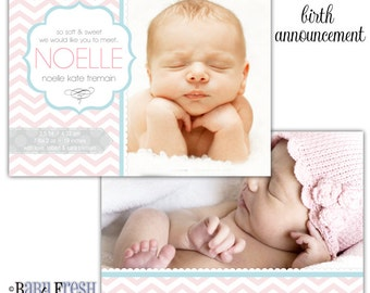 Instant Download - Photoshop PSD layered Templates for Photographers - Birth Announcement - Noelle Kate Design