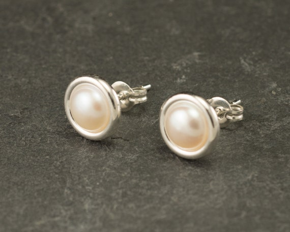 Pearl Studs- Pearl Earrings- Pearl Stud Earrings- June birthstone- Silver Pearl Earrings- Sterling Silver Studs- Pearl Post Earrings