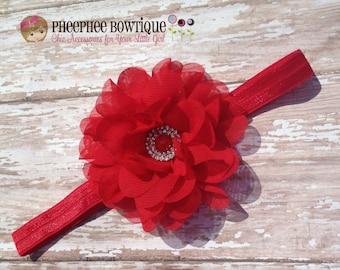 Christmas Red Flower Headband, LG Petal, Newborn Headband, Baby Headband, Infant Headband, Baby Shower Gift, Flower Girl, Hair Bow, Holidays