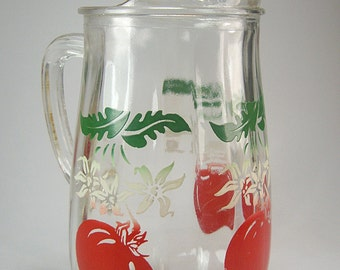 Glass Pitcher with Red Tomato Motif, Mid Century, Kitchen Decor