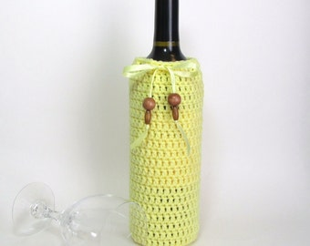 Hostess Gift Wine Bag Cozy Bottle Sack Spring Daffodil Sunny Yellow Vintage Wooden Beads Reusable