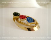 Modernist Enameled Metal and Gold Tone Geometric Brooch
