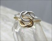 14k Gold and Silver Double Love Knot Ring / Solid Gold Celtic Knot ring / Infinity Knot Ring / Sweetheart Ring / Wedding Sale