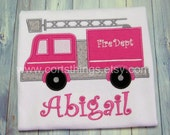 Personalized Girl Fire Truck Applique Shirt
