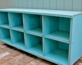 Beach Home Decor - Made by Hand - Distressed Furniture - Wood Bench - Furniture - Entryway - Shoe Storage - Toys - Cubbies - Cubbyholes