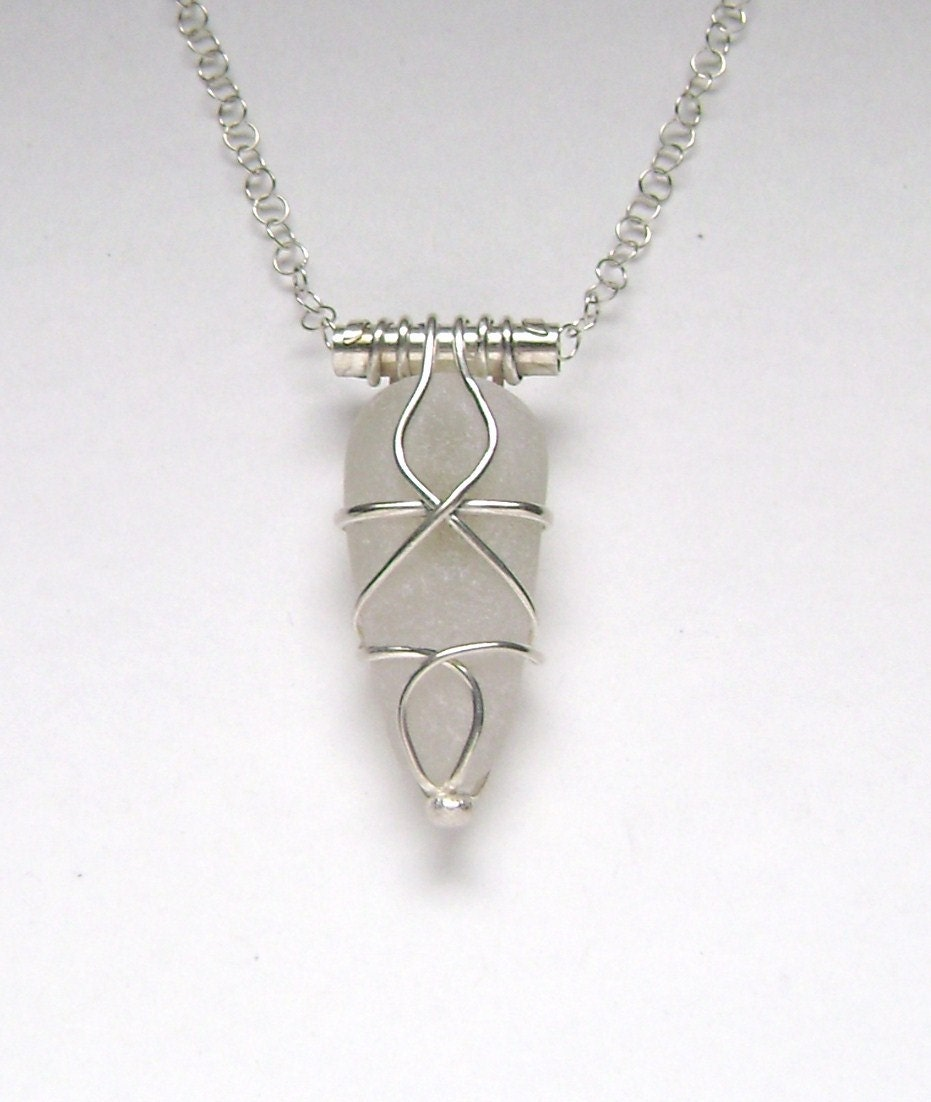 sea glass jewelry sterling caged white sea glass necklace