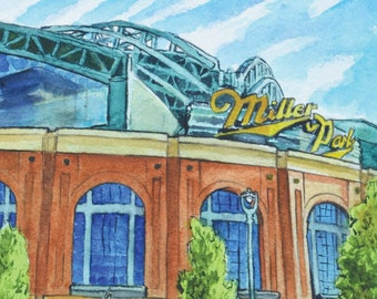 Miller Park No. 3 Milwaukee Wisconsin Watercolor Art Print by James Steeno