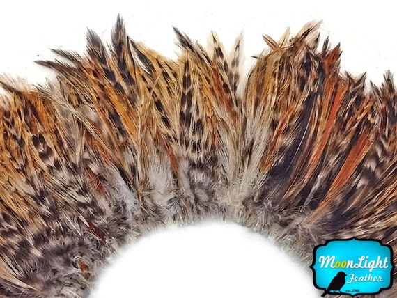 Chicken Feathers, 4 Inch Strip - RED CHINCHILLA Strung Rooster Neck Hackle Feathers : 3616