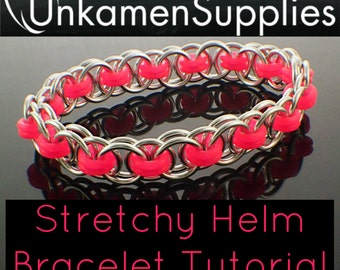 Stretchy Parallel Chain or Helm Weave Chainmaille Bracelet Tutorial - Expert PDF