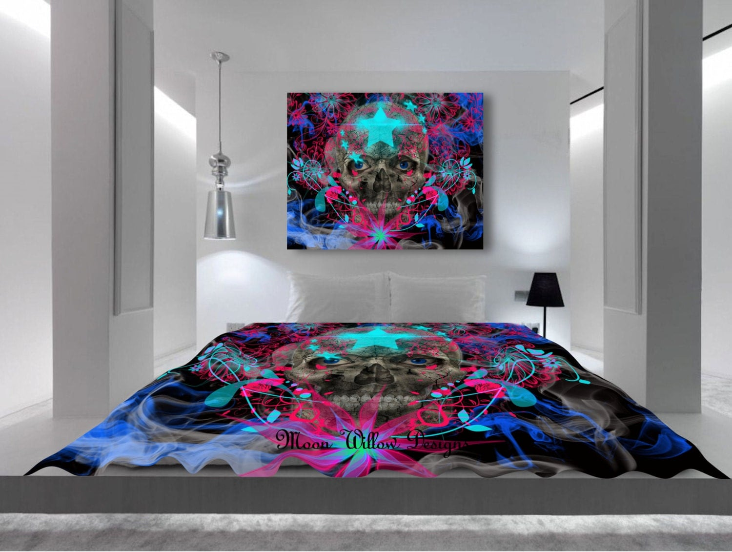 Art Comforter Bedding Stars and Skulls Unique by MoonWillowDesigns