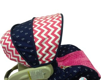 Infant Car Seat Cover Hot Pink Nautical