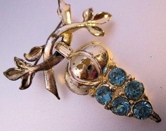 CORO Turquoise Blue Rhinestone Acorn Dangle Brooch Pin Vintage Jewelry 1950s