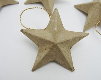 "6 Paper mache stars, 2"" DIY star ornament"