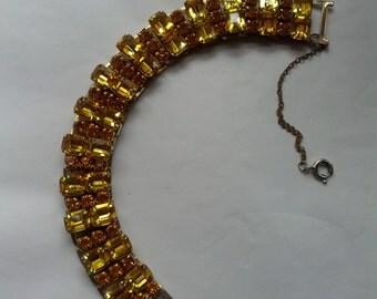 Vintage 40s Coro Gold and Amber Rhinestone Bracelet