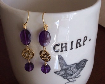 Amethyst and gold vermeil filigree drops