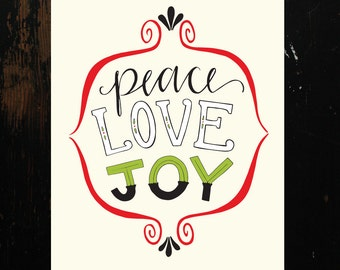 Peace Love Joy Hand-Lettering Printable
