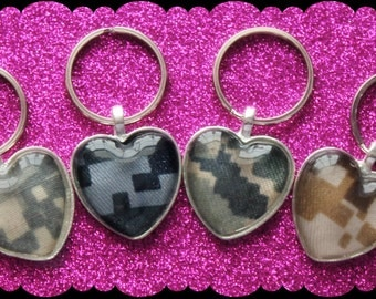 Military Camo Heart Keychain / Necklace