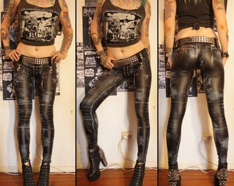 Kissin' Bombs stained fauxleather pants XS-S
