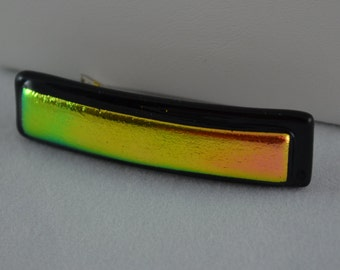 Fused Glass Barrette, Pink and Gold Dichroic Glass on Black