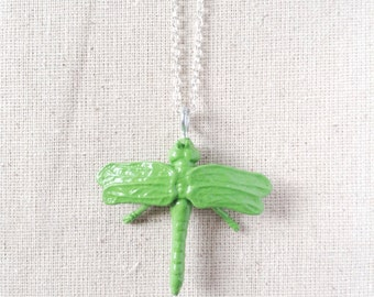 Toy Dragonfly Critter Necklace - Green