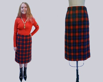 Vintage Pendleton Plaid  Royal Stewart Wool  Straight Skirt Red Blue and Green Mad Men Style XS S